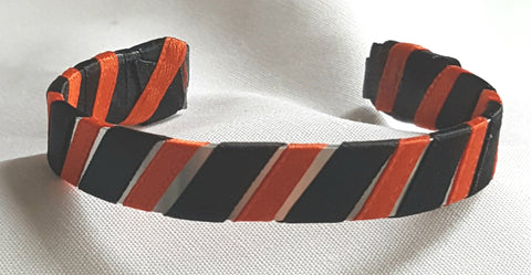 Orange and Black Halloween Ribbon Cuff Bracelet