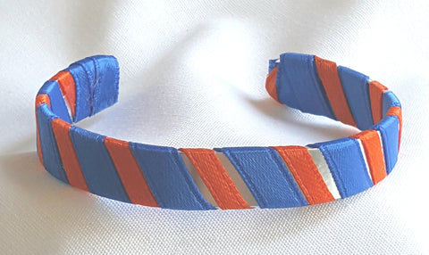 Blue and Orange School Ribbon Cuff Bracelet