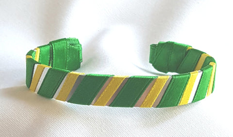 Green and Yellow School Color Ribbon Bracelets