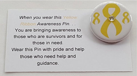 Amber Alert-Support the Troops-Bladder Cancer Button Yellow Awareness Ribbon Button with Jewel