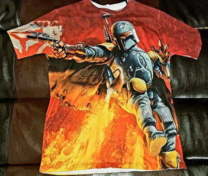 BOBA FETT Shirt Men's SMALL SM - Looks like Medium or Large