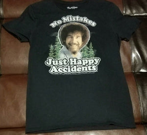 BOB ROSS NO MISTAKES JUST HAPPY ACCIDENTS T-Shirt Men's SMALL SM