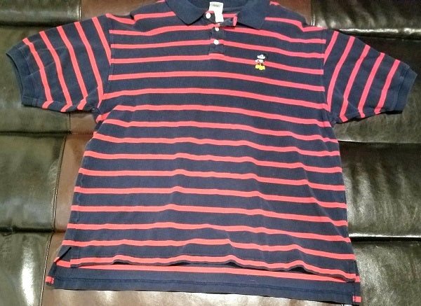 MICKEY MOUSE RED & NAVY STRIPED POLO Shirt Men's XXL