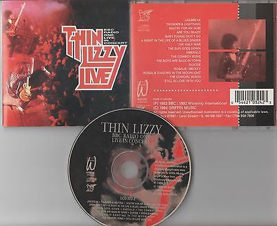 Thin Lizzy CD, Live (BBC Radio One Concert), RARE, Orig 1994 Griffin, 14 Tracks