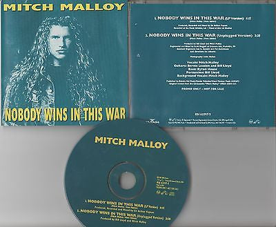 Mitch Malloy CD, Nobody Wins in this War, RARE Promo Single, 1992 RCA