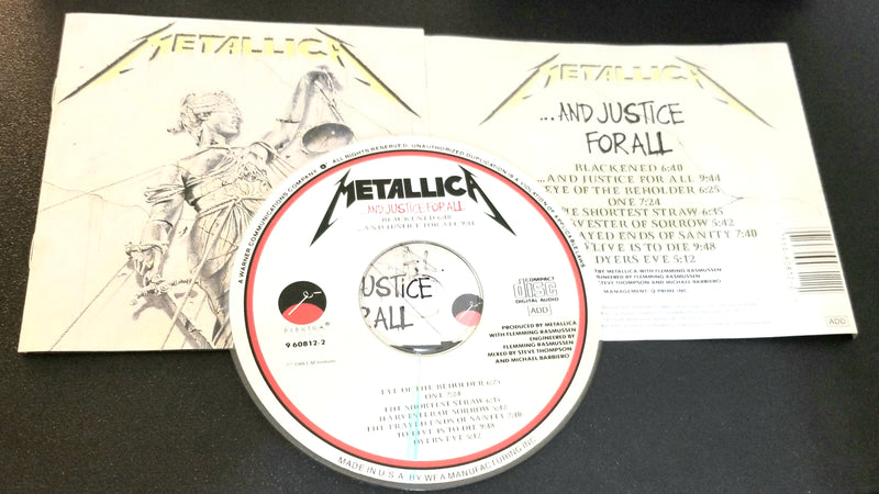 METALLICA AND JUSTICE FOR ALL CD 1988 ELEKTRA PRESSING