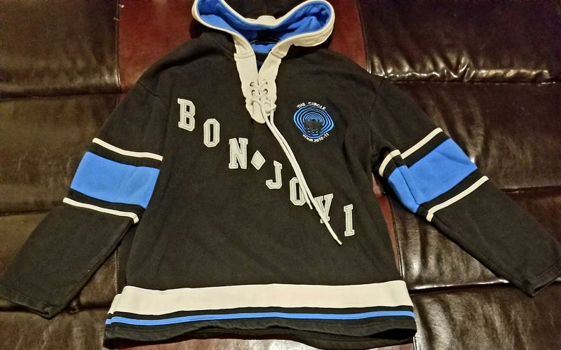BON JOVI THE CIRCLE OFFICIAL TOUR 2010-11 HOCKEY SWEATSHIRT HOODIET-Shirt Men's XXL XX Large