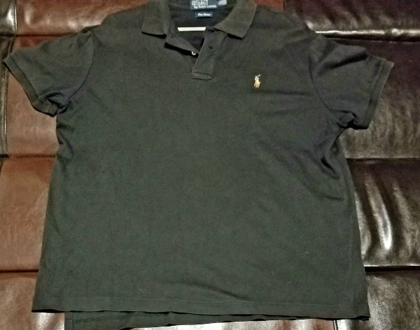 POLO SHIRT VINTAGE  BLACK PIMA SOFT SHIRT  Men's X-LARGE XL