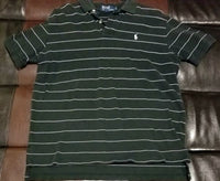 POLO SHIRT VINTAGE STRIPED SHIRT BLACK / WHITE PINSTRIPE Men's LARGE L
