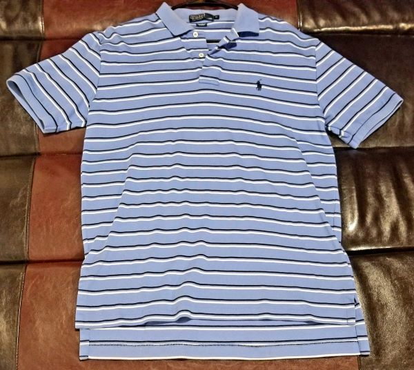 POLO SHIRT VINTAGE STRIPED BLUE/NAVY/WHITE SHIRT Men's MEDIUM M