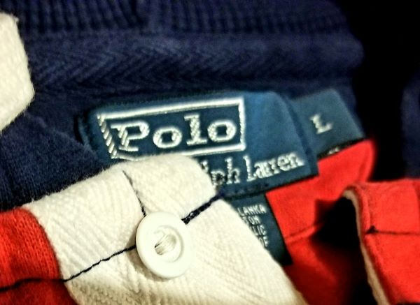 POLO HOODIE VINTAGE RED / NAVY STRIPED  Men's LARGE L