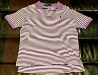 POLO SHIRT VINTAGE LAVENDER STRIPED SHIRT Men's MEDIUM M