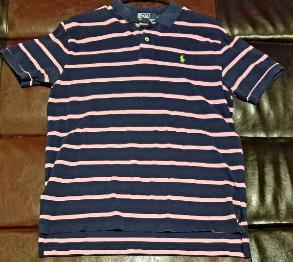 POLO SHIRT VINTAGE STRIPED PINK / NAVY SHIRT  Men's X-LARGE XL