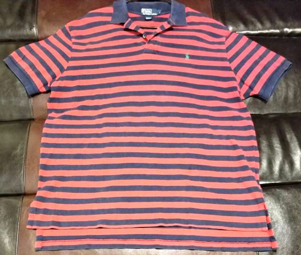 POLO SHIRT VINTAGE STRIPED SHIRT RED & NAVY Men's X-LARGE XL