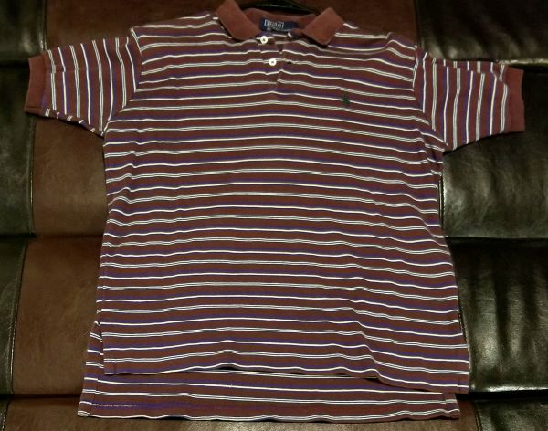 POLO SHIRT VINTAGE STRIPED SHIRT Women's LARGE LG