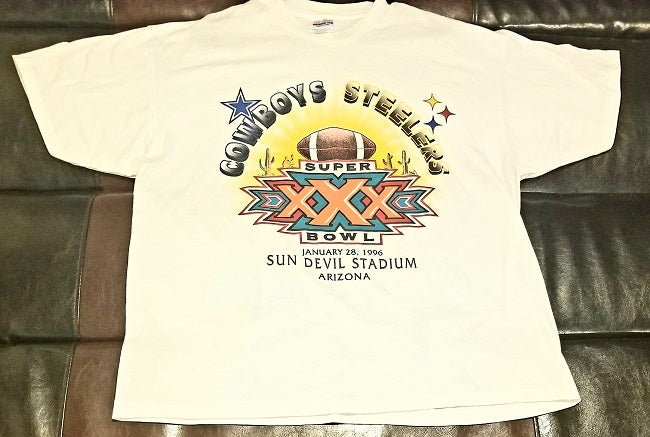 DALLAS COWBOYS VS PITTSBURGH STEELERS SUPER BOWL XXX 1996 T-Shirt Men's X-LARGE XL