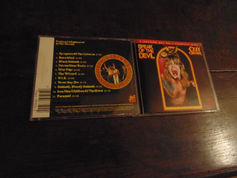 Ozzy Osbourne CD, Speak of the Devil, Live, Night Ranger, Sarzo, Aldridge