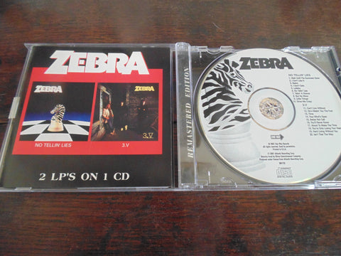 Zebra CD, No Tellin Lies & 3.V, 2 LPs on 1 CD, 2001 One Way Records, Remastered