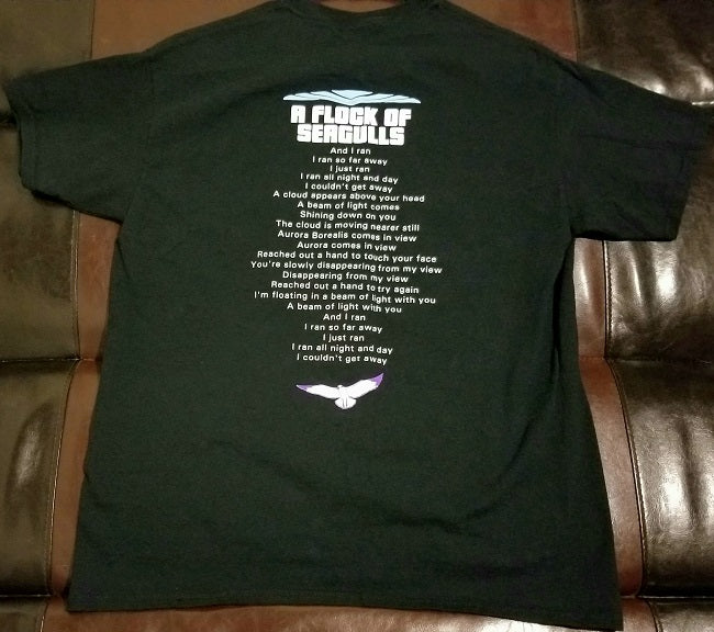 "A Flock of Seagulls T-Shirt Men's L  w/ ""I Ran"" Lyrics on Back"