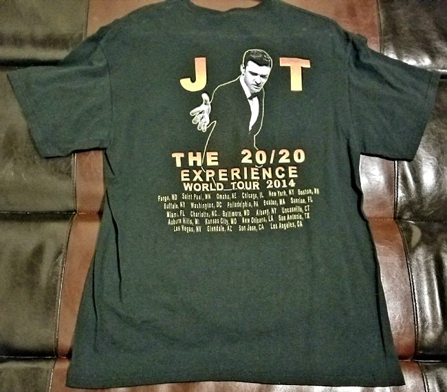 Justin Timberlake Official 2014 Tour T-Shirt Men's Large - 20 / 20 J T