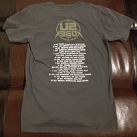 U2 360 Tour T-Shirt Men's Small (SM) - Gray