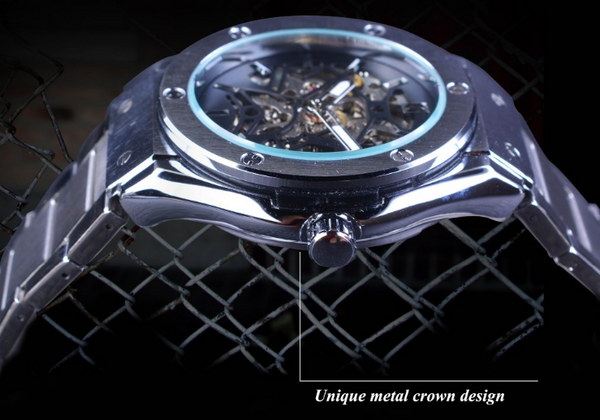 Steampunk Stainless Steel Mechanical Skeleton Watch