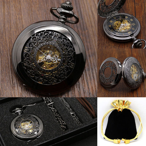 Vintage Black Hunter Steampunk Pocket Watch