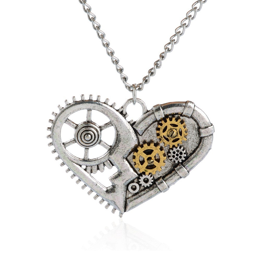 Steampunk Gear Heart Necklace