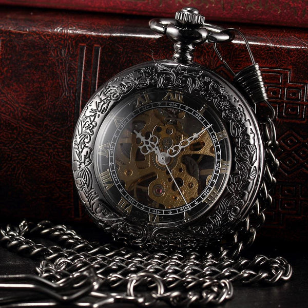 Black Skeleton Steampunk Mechanical Pocket Watch