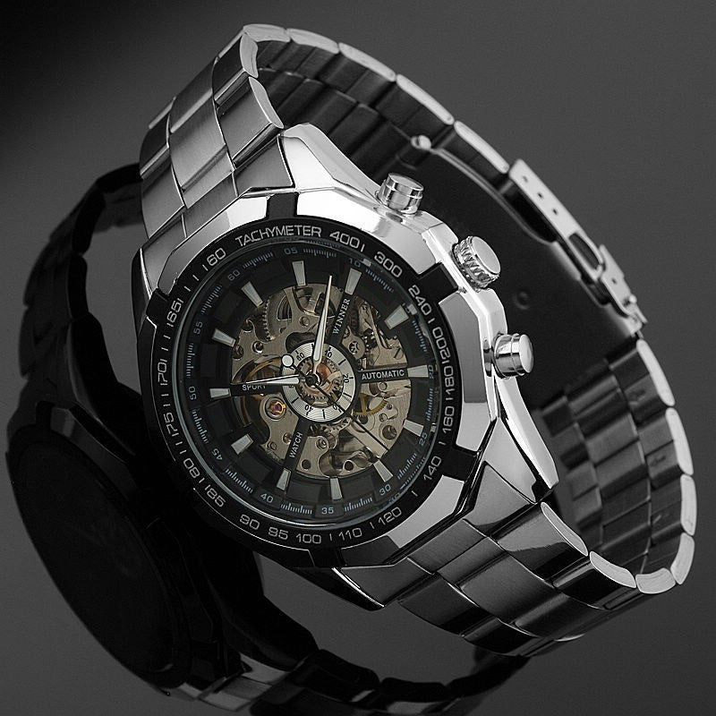 Stainless Steel Mechanical Silver Steampunk Skeleton Watch