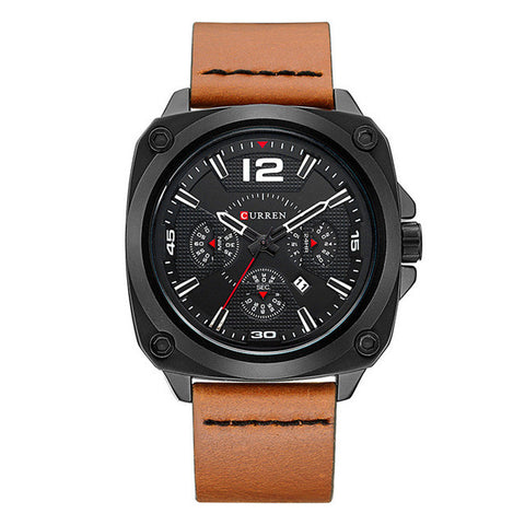 'Regulator' Leather Quartz Watch