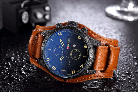 'The Bandit' Leather Quartz Wrist Watch