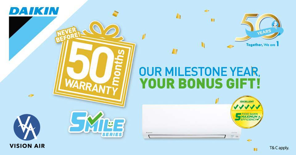 Daikin Singapore 50 Months Warranty Promotion!