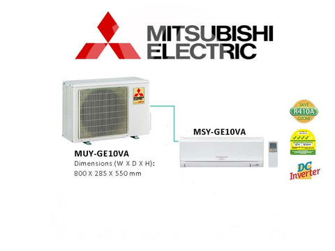 Mitsubishi Electric Starmex Single Split Inverter: MUY-GE10VA / MSY-GE10VA (9000 BTU)