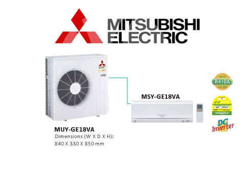 Mitsubishi Electric Starmex Single Split Inverter: MUY-GE18VA / MSY-GE18VA (18000 BTU)