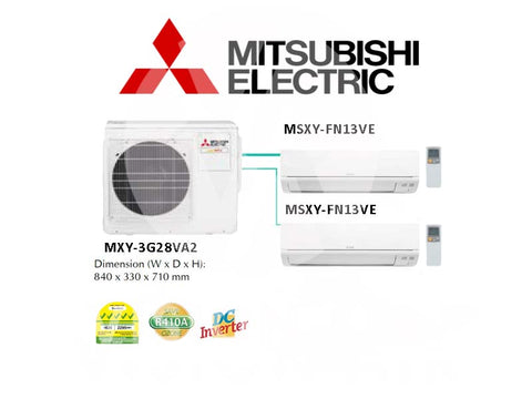 Mitsubishi Electric Starmex System 2 Inverter New (5 Ticks) NEW: MXY-3G28VA2 / 2 X MSXY-FN13VE
