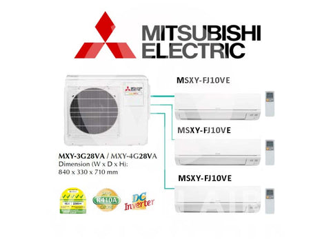 Mitsubishi Electric Starmex System 3 Inverter (5 Ticks): MXY-3G28VA / 3 X MSXY-FJ10VE