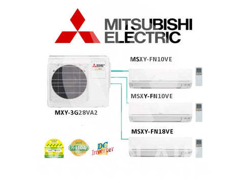 Mitsubishi Electric Starmex System 3 Inverter (5 Ticks) NEW: MXY-3G28VA2 / 2 X MSXY-FN10VE + 1 X MSXY-FN18VE