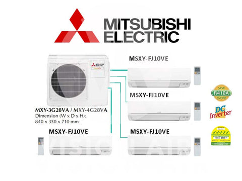 Mitsubishi Electric Starmex System 4 Inverter (5 Ticks): MXY-4G28VA / 4 X MSXY-FJ10VE (9000 BTU)