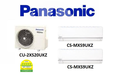 (NEW) PANASONIC MULTI-SPLIT SERIES SYSTEM 2 INVERTER SYSTEM (5 TICKS): CU-2XS20UKZ / CS-MXS9UKZ X 2