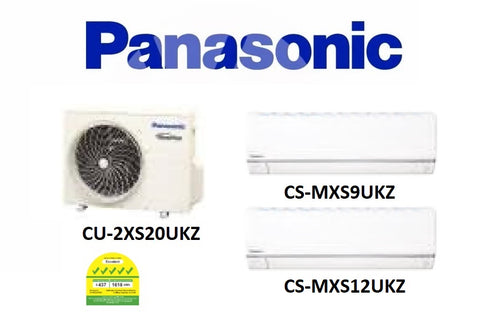(NEW) PANASONIC MULTI-SPLIT SERIES SYSTEM 2 INVERTER SYSTEM (5 TICKS): CU-2XS20UKZ / CS-MXS9UKZ + CS-MXS12UKZ