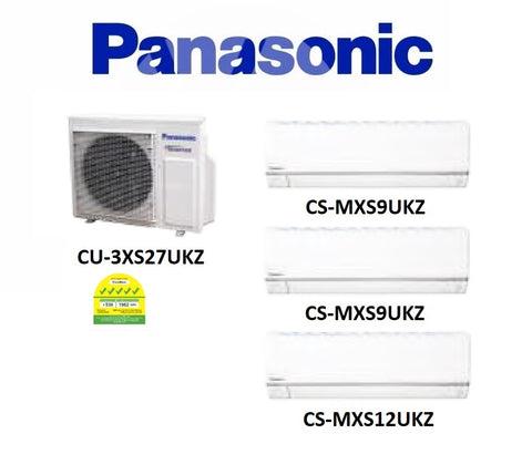 (NEW) PANASONIC MULTI-SPLIT SERIES SYSTEM 3 INVERTER SYSTEM (5 TICKS): CU-3XS27UKZ / CS-MXS9UKZ X 2 + CS-MXS12UKZ