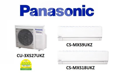 (NEW) PANASONIC MULTI-SPLIT SERIES SYSTEM 3 INVERTER SYSTEM (5 TICKS): CU-3XS27UKZ / CS-MXS9UKZ + CS-MXS18UKZ