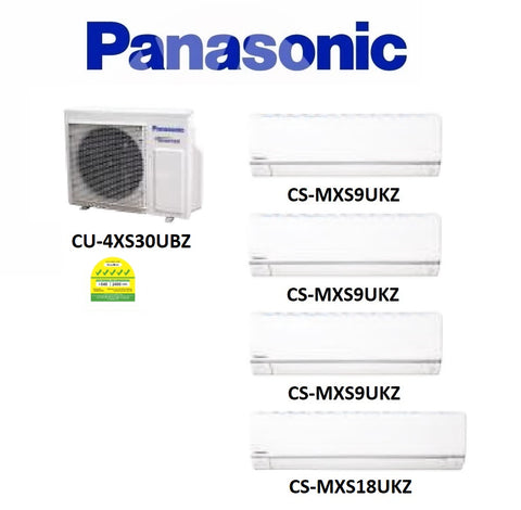 (NEW) PANASONIC MULTI-SPLIT SERIES SYSTEM 4 INVERTER SYSTEM (5 TICKS): CU-4XS30UBZ / CS-MXS9UKZ X 3 + CS-MXS18UKZ