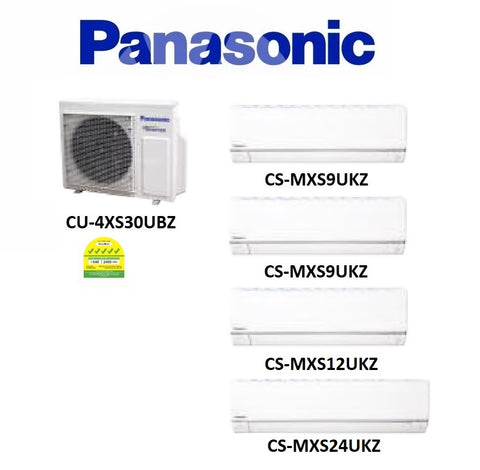 (NEW) PANASONIC MULTI-SPLIT SERIES SYSTEM 4 INVERTER SYSTEM (5 TICKS): CU-4XS30UBZ / CS-MXS9UKZ X 2 + CS-MXS12UKZ + CS-MXS24UKZ