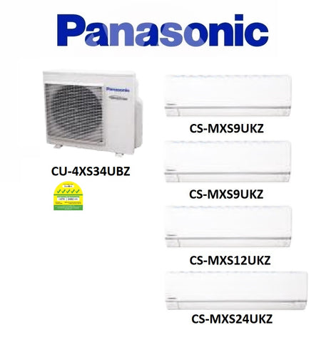 (NEW) PANASONIC MULTI-SPLIT SERIES SYSTEM 4 INVERTER SYSTEM (5 TICKS): CU-4XS34UBZ / CS-MXS9UKZ X 2 + CS-MXS12UKZ + CS-MXS24UKZ