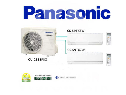 Panasonic System 2 Inverter (With ECONAVI): CU-2S18PKZ / 2 X CS-S9TKZW (9000 BTU)
