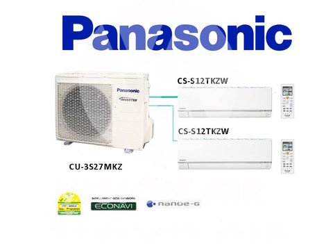 Panasonic System 2 Inverter (With ECONAVI): CU-3S27MKZ / 2 X CS-S12TKZW (12000 BTU)