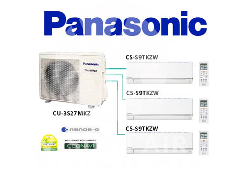 Panasonic System 3 Inverter (With ECONAVI): CU-3S27MKZ / 3 X CS-S9TKZW (9000 BTU)