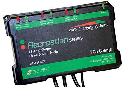 Pro Charging Recreational Series RS3 3@6 amp *18 amp bank charger 12 /36 V